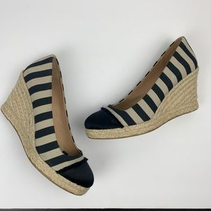 J. Crew Nautical Seville Espadrille Wedges Stripe